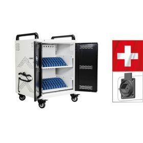 Safecart 24 PRO+ KOMPAKT - SWISS-Edition - Kleiner Laptopladewagen mit viel Kapazität & Typ-13