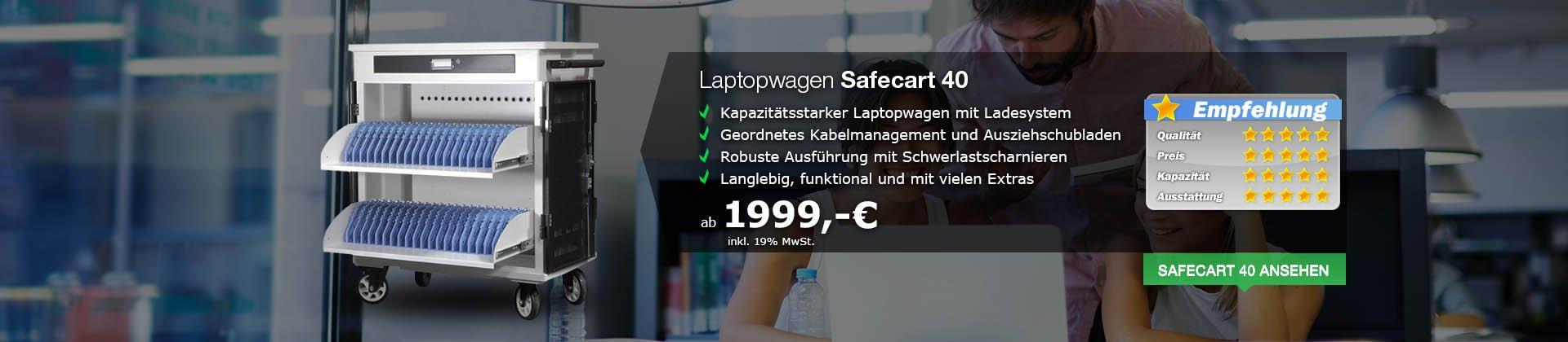 Laptopwagen Safecart 40 - gleichzeitiges Laden von bis zu 40 Laptops